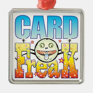 Monstruo extraño de la tarjeta adorno cuadrado plateado