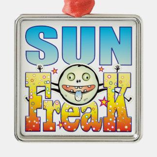 Monstruo extraño de Sun Adorno Cuadrado Plateado