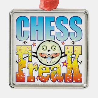 Monstruo extraño del ajedrez adorno cuadrado plateado