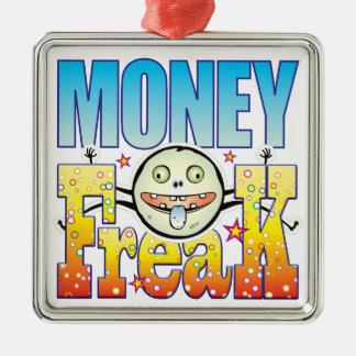 Monstruo extraño del dinero adorno cuadrado plateado