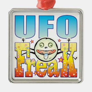 Monstruo extraño del UFO Adorno Cuadrado Plateado