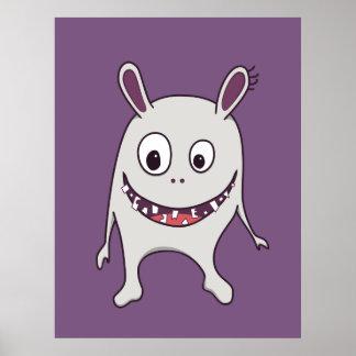 Monstruo feliz de los dientes agrietados divertido posters