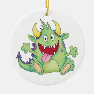 monstruo feliz lindo adorno redondo de cerámica