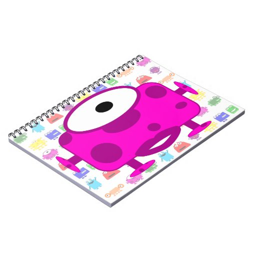 Monstruo fucsia lindo del dibujo animado libretas espirales