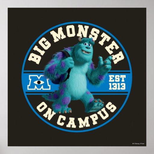 Monstruo grande en campus póster