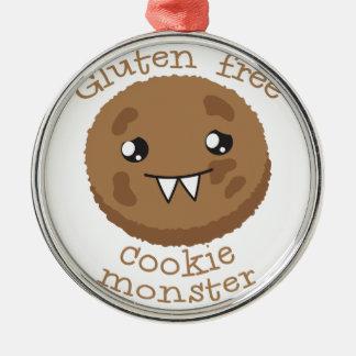 Monstruo libre de la galleta del gluten adorno navideño redondo de metal