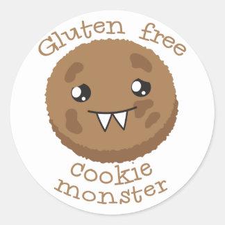 Monstruo libre de la galleta del gluten pegatina redonda
