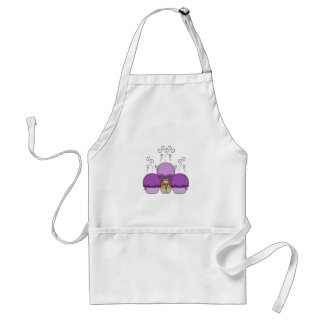 Monstruo lindo con las magdalenas heladas púrpura delantales