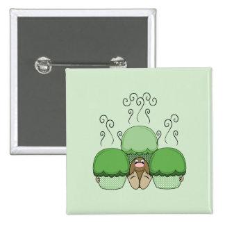 Monstruo lindo con las magdalenas heladas verde pins
