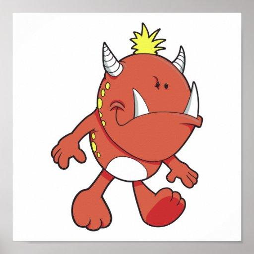 monstruo lindo del colmillo del fuego que pone mal póster