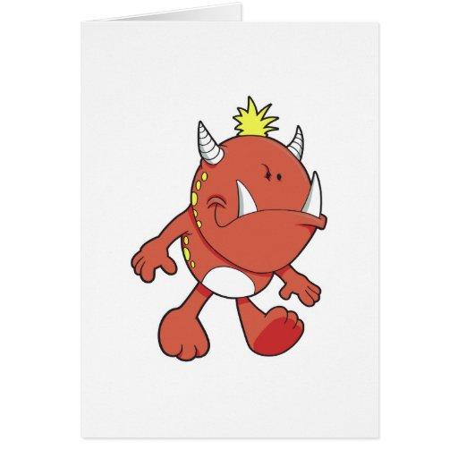 monstruo lindo del colmillo del fuego que pone mal tarjeta de felicitación