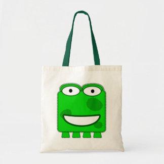 Monstruo lindo del dibujo animado de la verde lima bolsa