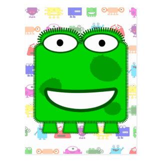 Monstruo lindo del dibujo animado de la verde lima tarjeta postal