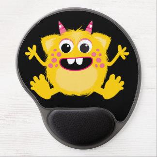 Monstruo lindo retro amarillo alfombrillas de ratón con gel