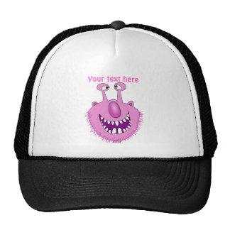 Monstruo lindo rosado sonriente con la barba gorra
