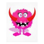 Monstruo mullido peludo rosado del dibujo animado membrete personalizado