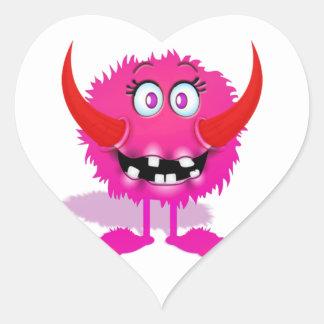 Monstruo mullido peludo rosado del dibujo animado pegatina en forma de corazón