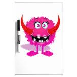 Monstruo mullido peludo rosado del dibujo animado tableros blancos