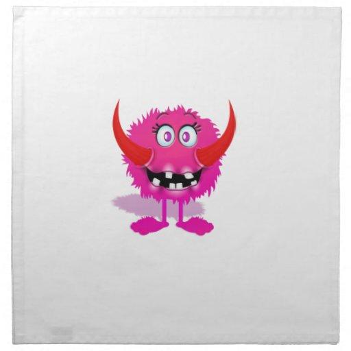 Monstruo mullido peludo rosado del dibujo animado servilleta