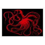 Monstruo náutico de Kraken del vintage de Steampun Póster