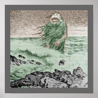 Monstruo Nokken que sale del agua Posters