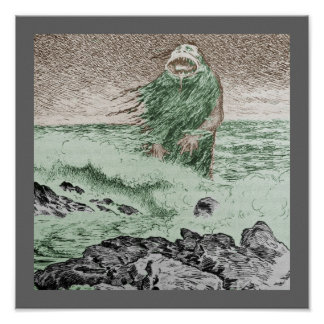 Monstruo Nokken que sale del agua Póster