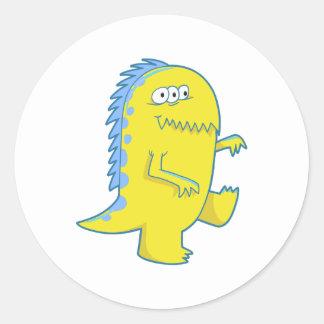 monstruo observado de Dino del amarillo tres Etiqueta