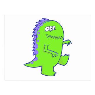 monstruo observado de Dino del verde tres Tarjetas Postales
