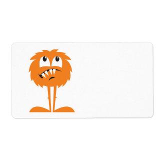 monstruo peludo anaranjado divertido etiqueta de envío