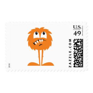 monstruo peludo anaranjado divertido sello