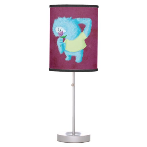 Monstruo peludo grande azul lámpara de mesa