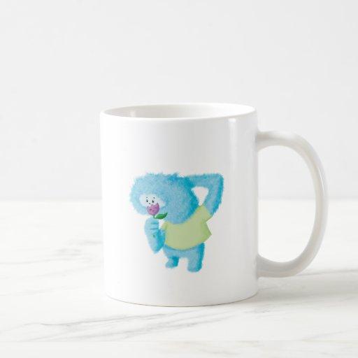 Monstruo peludo grande azul taza