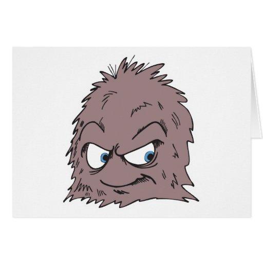monstruo peludo melenudo marrón tarjeta de felicitación
