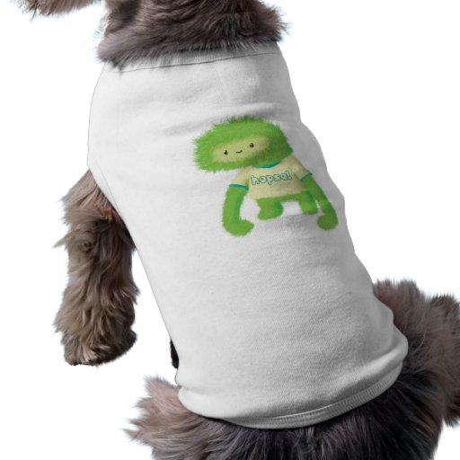 Monstruo peludo verde camiseta de mascota