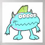 monstruo punky azul del mohawk muchos ojos impresiones