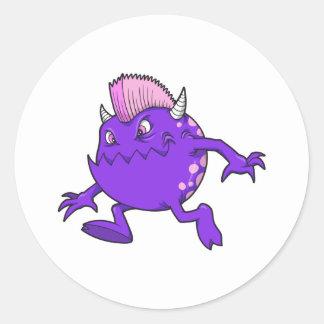 monstruo punky púrpura del mohawk del diablo pegatina redonda