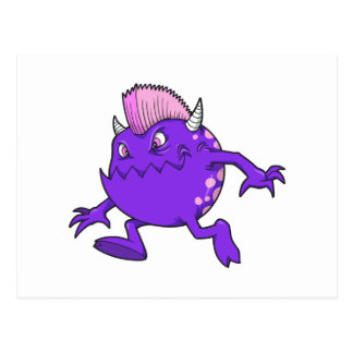 monstruo punky púrpura del mohawk del diablo postal