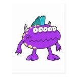 monstruo punky púrpura del mohawk muchos ojos postales
