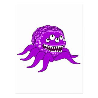 Monstruo púrpura con cuatro ojos y tentáculos postal
