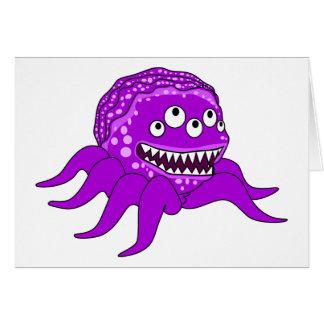 Monstruo púrpura con cuatro ojos y tentáculos tarjeta de felicitación