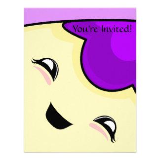 Monstruo púrpura de las cosquillas de Kawaii Invitacion Personalizada