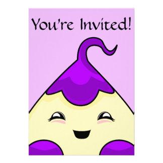 Monstruo púrpura de las cosquillas de Kawaii Invitacion Personal
