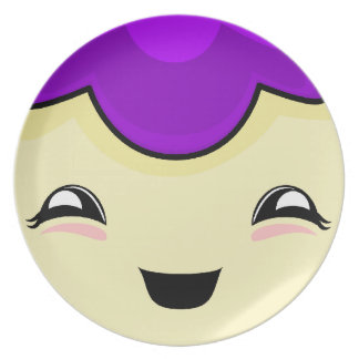 Monstruo púrpura de las cosquillas de Kawaii Plato De Cena