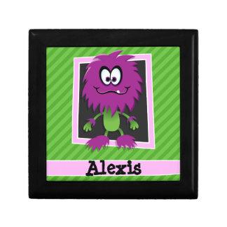 Monstruo púrpura en rayas verdes caja de regalo cuadrada pequeña