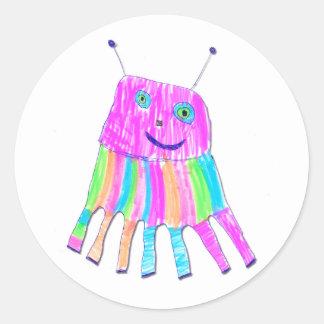 Monstruo púrpura feliz del arco iris de 7 piernas pegatinas redondas