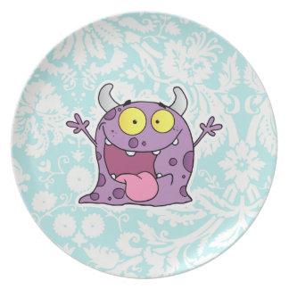 Monstruo púrpura feliz Lindo Platos