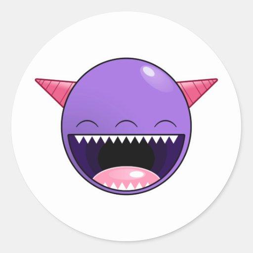 Monstruo púrpura feliz pegatina redonda