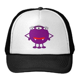 Monstruo púrpura lindo del dibujo animado gorras de camionero