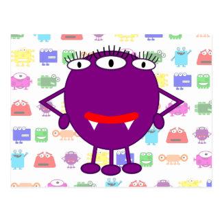 Monstruo púrpura lindo del dibujo animado postales