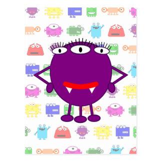 Monstruo púrpura lindo del dibujo animado tarjeta postal